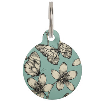 Rustic vintage butterfly and flowers on turquoise pet tags