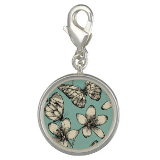 Rustic vintage butterfly and flowers on turquoise photo charm