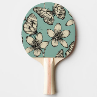 Rustic vintage butterfly and flowers on turquoise ping pong paddle