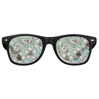 Rustic vintage butterfly and flowers on turquoise retro sunglasses