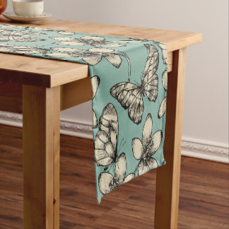 Rustic vintage butterfly and flowers on turquoise short table runner