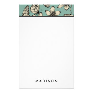 Rustic vintage butterfly and flowers on turquoise stationery
