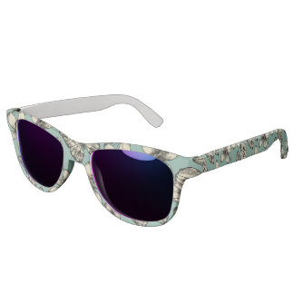Rustic vintage butterfly and flowers on turquoise sunglasses