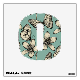 Rustic vintage butterfly and flowers on turquoise wall decal