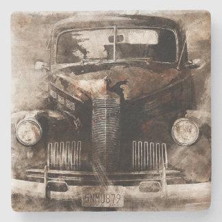 Rustic Vintage Car Stone Beverage Coaster