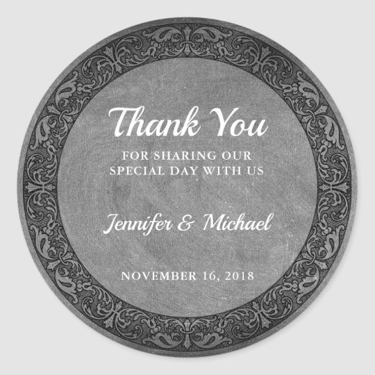 Rustic vintage chalkboard Wedding Thank You Favour Classic Round Sticker