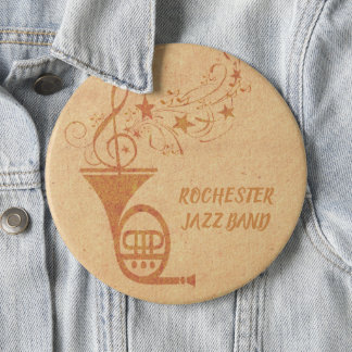 Rustic  Vintage Classical Music French Horn Band 6 Inch Round Button