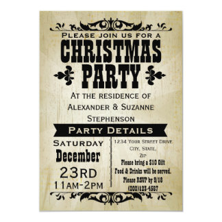 Rustic Vintage Country Christmas Party Invitation