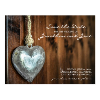 Rustic Vintage Country Heart Wedding Save the Date Postcard