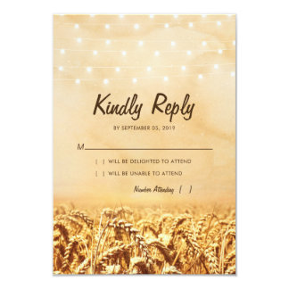 Rustic Vintage Country Wheat Corn Wedding RSVP Card
