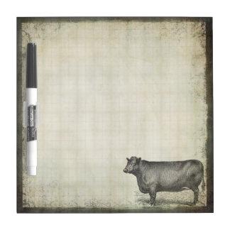 Rustic Vintage Cow   Barnyard   Farm Animals Dry Erase Board