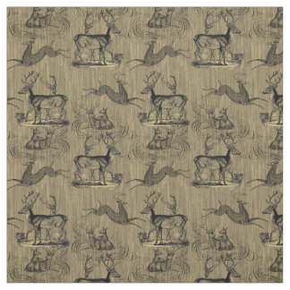Rustic Vintage Deer Pattern Fabric