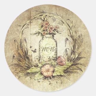 Rustic Vintage Floral Mason Jar Wedding Round Sticker