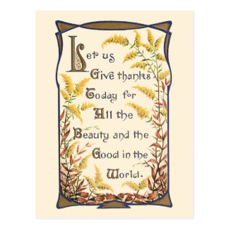 Rustic Vintage Floral Thanksgiving Verse Post Card