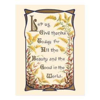 Rustic Vintage Floral Thanksgiving Verse Postcard