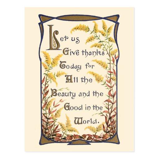 Rustic Vintage Floral Thanksgiving Verse Post Card