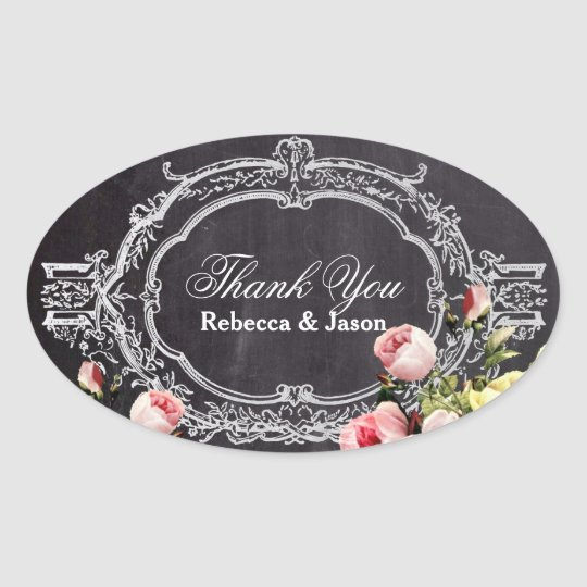 rustic  vintage flowers Chalkboard thank you Oval Sticker