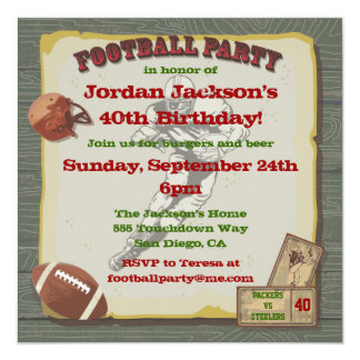 Rustic Vintage Football Party Invitations