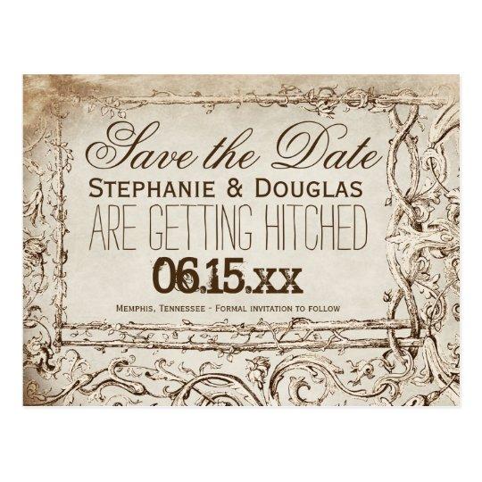 Rustic Vintage Frame Save the Date Postcards