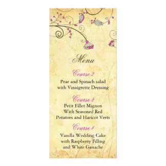 rustic vintage fuchsia floral wedding menu cards