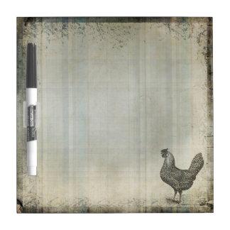 Rustic Vintage Hen   Chicken   Farm Animals Dry Erase Board
