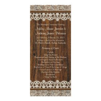 Rustic Vintage Ivory Lace Wood Wedding Program
