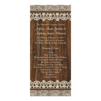 Rustic Vintage Ivory Lace Wood Wedding Program Rack Cards