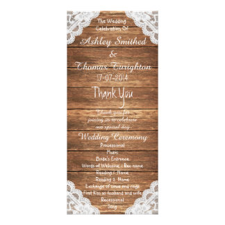 Rustic Vintage Lace Brown Wood Wedding Programs Custom Rack Cards