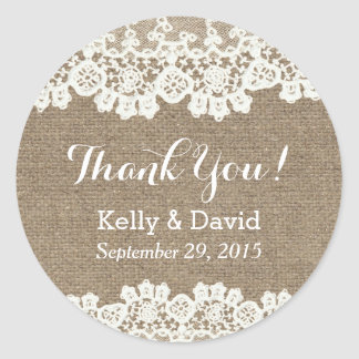 Rustic Vintage Lace & Burlap Wedding Favor Classic Round Sticker