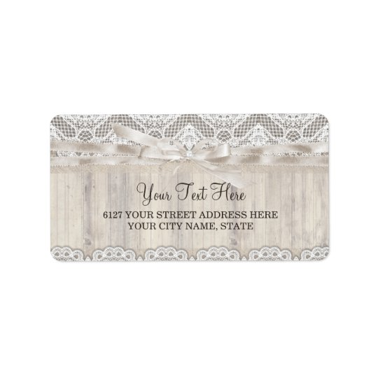 Rustic Vintage Lace & Wood Wedding Address Label