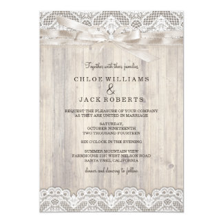 Rustic Vintage Lace & Wood Wedding Invitation