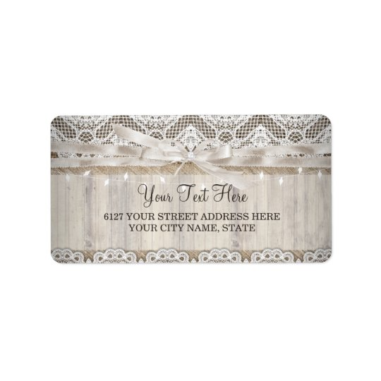 Rustic Vintage Lace Wood Wedding Lights Label