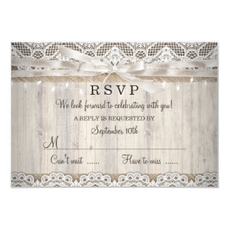 Rustic Vintage Lace Wood Wedding Lights RSVP Card
