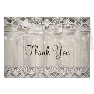 Rustic Vintage Lace Wood Wedding Lights Thank You Card