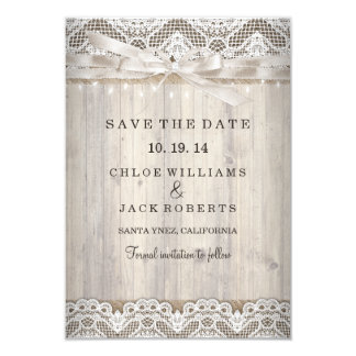 "Rustic Vintage Lace Wood Wedding Save The Date 3.5"" X 5"" Invitation Card"