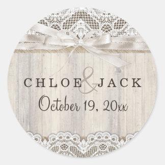 Rustic Vintage Lace & Wood Wedding Sticker