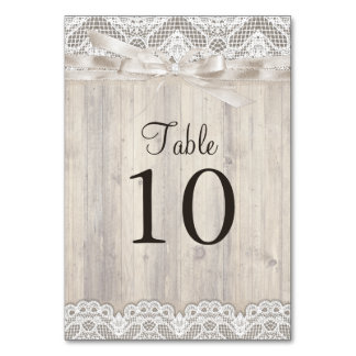 Rustic Vintage Lace & Wood Wedding Table Number Table Card