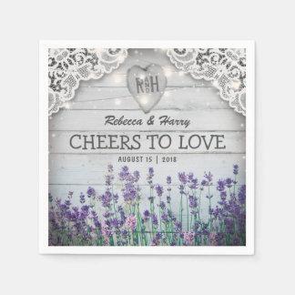 Rustic Vintage Lavender Wedding Disposable Napkins