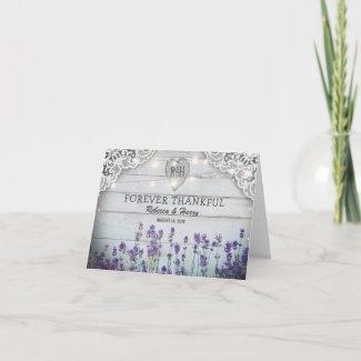 Rustic Vintage Lavender Wedding Thank You