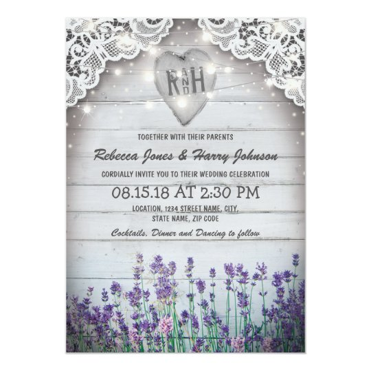 Rustic Vintage Lavender Wedding | Twinkle Lights Card