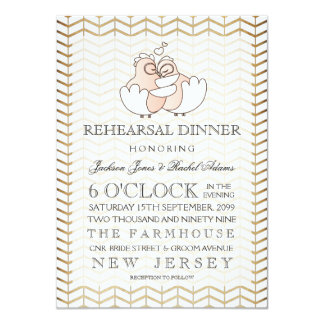 Rustic Vintage Love Birds Rehearsal Dinner Invite