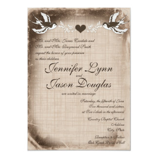 Rustic Vintage Love Birds Wedding Invitations