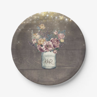 Rustic Vintage Mauve and Gold Floral Mason Jar Paper Plate