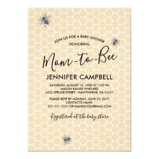 Rustic Vintage Mom to Bee Baby Shower Card