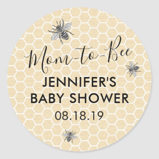 Rustic Vintage Mom to Bee Baby Shower Classic Round Sticker