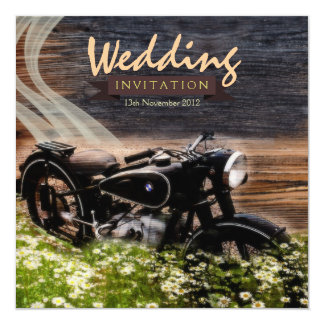 """Rustic Vintage Motorbike Wedding Invitations 5.25"""" Square Invitation Card"""