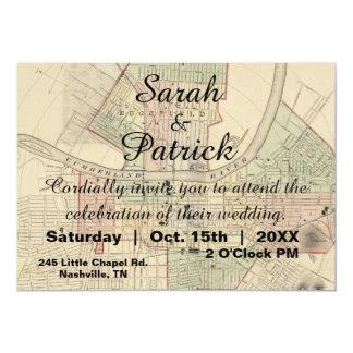 Rustic Vintage Nashville Map Wedding Invitation
