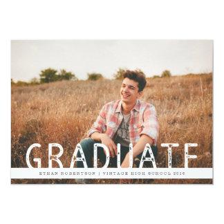 "Rustic Vintage Photo Graduation Party 5"" X 7"" Invitation Card"