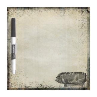 Rustic Vintage Pig   Barnyard Farm Animals Dry Erase Board