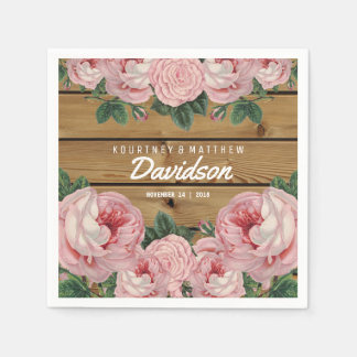 Rustic Vintage Pink Rose Wedding Napkin